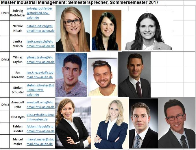 Semestersprecher Master Industrial Management SS17