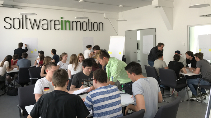 Die Studierenden beim Scrum-Workshop.