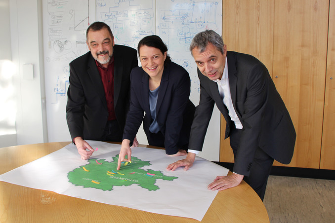 Prof. Dr. Gerhard Schneider, President of Aalen University, Head of RCE Dr. Annika Beifuss, and Prof. Dr. Ulrich Holzbaur, Senate's Delegate for Sustainability at Aalen University, are pleased about the positive response from the United Nations University.