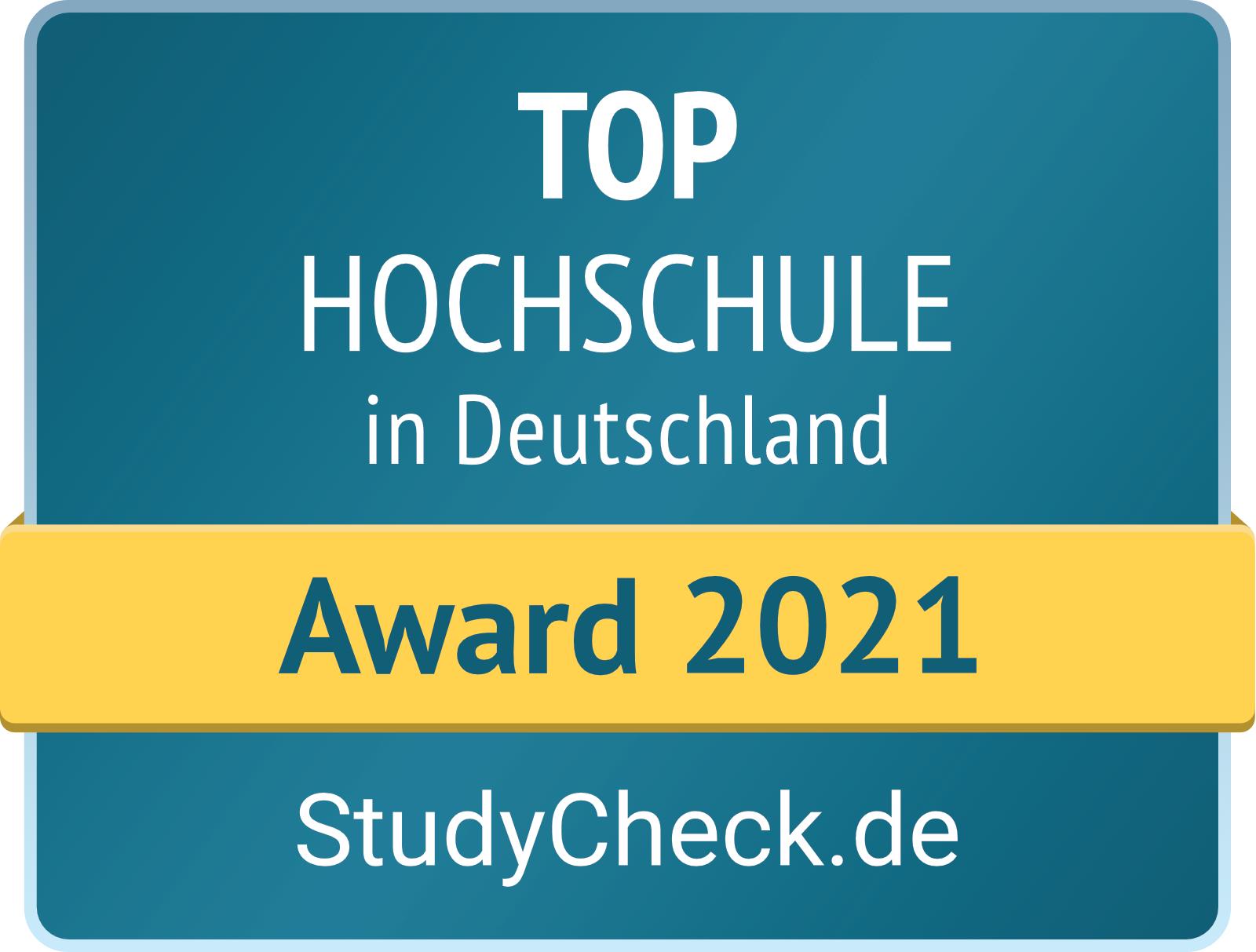 Logo Studycheck.de: Award 2021 / Top Hochschule in Deutschland